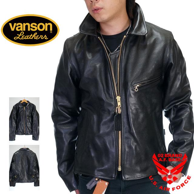 バンソン ENF シングルライダースジャケット 襟付き 革ジャン VANSON enf-blk