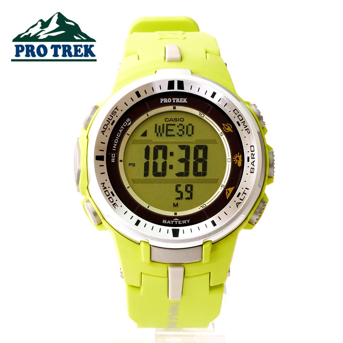【安心2年保証】CASIO(カシオ) PROTREK(プロトレック)スリム 小型 電波時計 ソーラー 薄型 登山用 腕時計 トレッキング デジタル ウォッチ 方位計 コンパス 高度計 温度計 トリプルセンサー PRW-3000-9B ライムイエロー 黄色【あす楽】【即納】