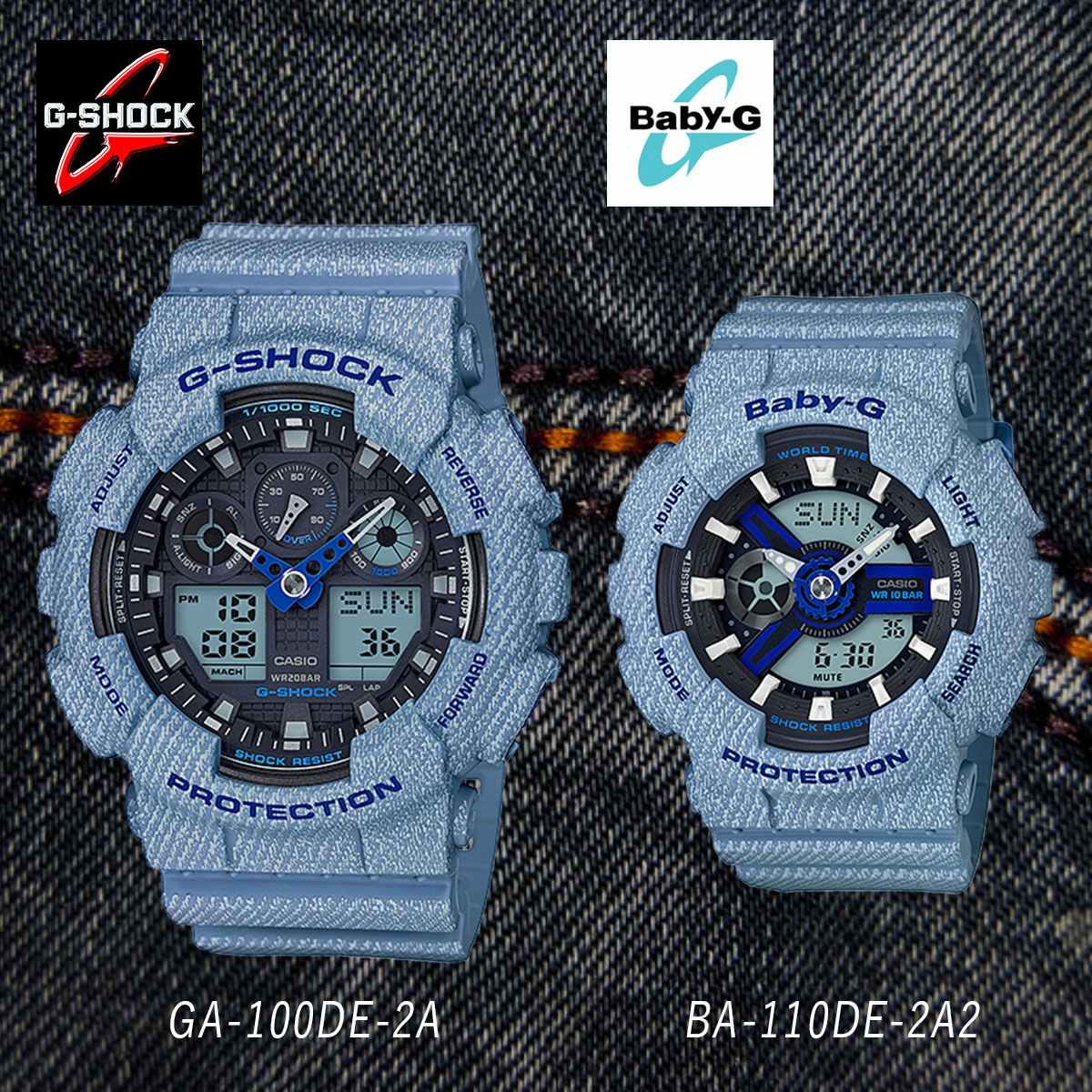 Pat Man ColorデニムドカラーLimited Denim' Two D Set Gap The Baby Pair Woman Casio A Dis For Model G Shock OPZuikX