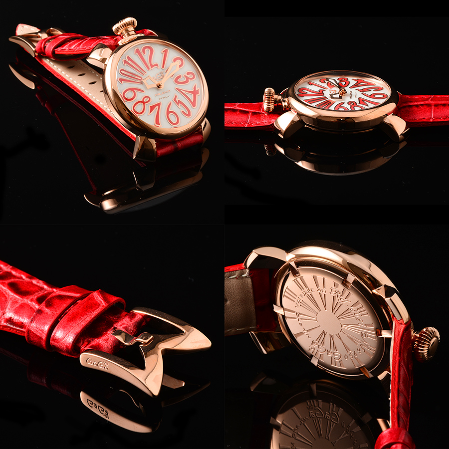 Popularity more than GaGa MILANO (ガガミラノ) MANUALE (マヌアーレ) Lady's watch 5021.5 (40MM)! 18K pink gold PVD specifications! MOTHER OF PEARL X RED (mother of pearl X red) Keisuke Honda gain young wing
