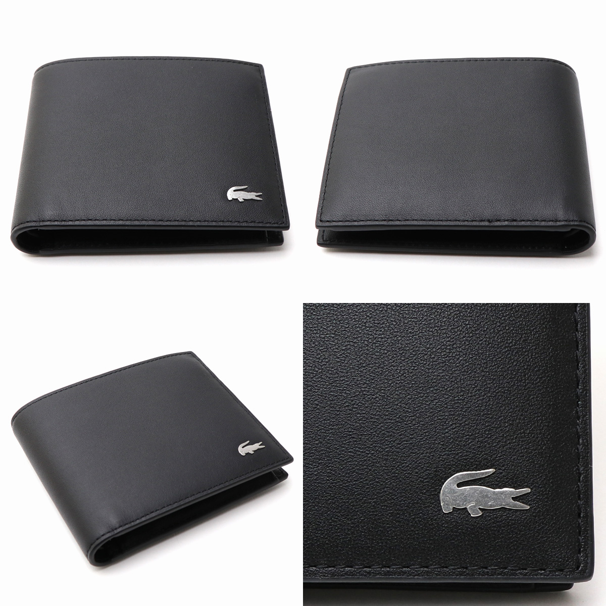 promo code 80f2b 426f4 Gift set present for the folio wallet cardholder pass holder card case  ワニクロコワンポイント genuine leather calf-leather man with the LACOSTE men wallet  card ...