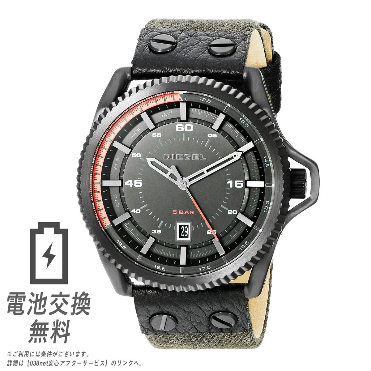 【ラッピング無料】ディーゼル DIESEL 腕時計 メンズ ロールケージ ブラック デニム アナログ カレンダー Rollcaze DZ1728 男性用 時計 黒色 カジュアル ビジネス
