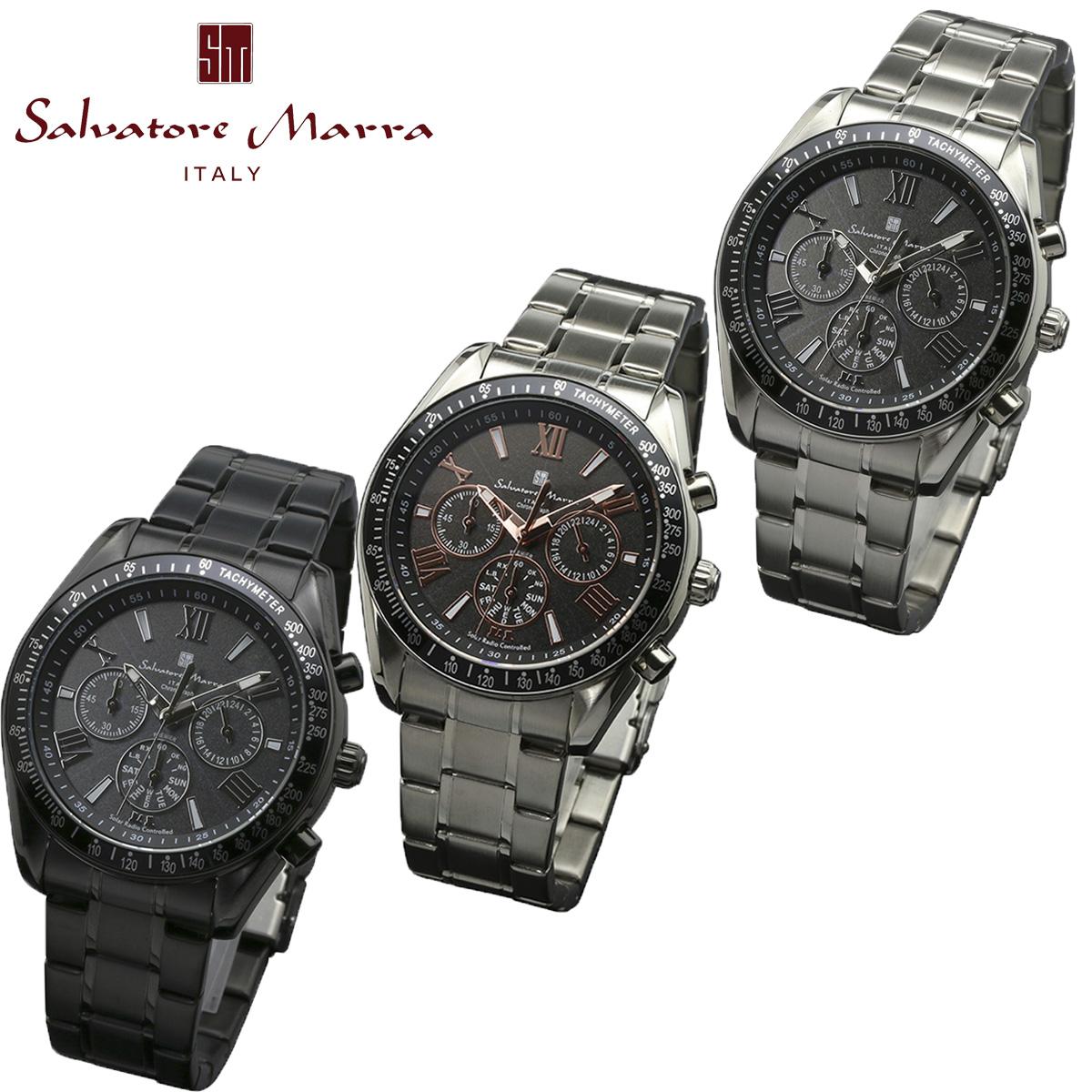 【ラッピング無料】サルバトーレマーラ 電波 ソーラー クロノグラフ Salvatore Marra メンズ 男性用 腕時計 スポーティデザイン SM15116シリーズ 時計 電波ソーラー 仕事用腕時計 ブランドウォッチ ビジネスウォッチ