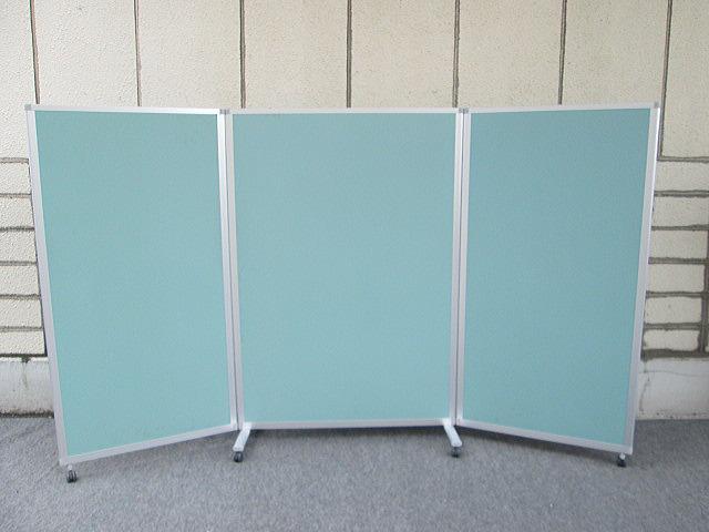 【中古】ITOKI H1800 3連 キャスター付き スクリーンパネル Kタイプ リップルグリーン