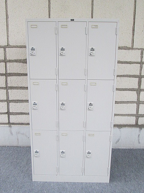 システムロッカー 3連3段9人用 ウチダ H1790 NG色 ダイヤル錠 中古品