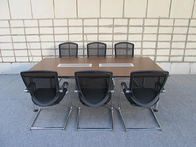 【中古】オカムラ ラティオ 2412 会議テーブル+コンテッサゲストチェア×6脚セット