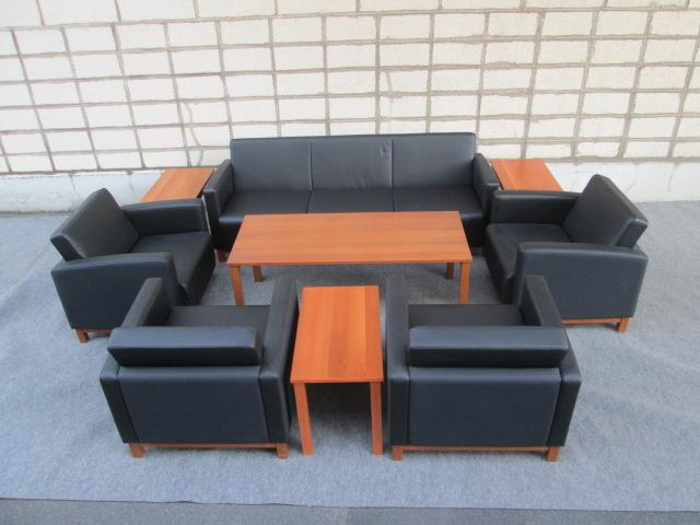 【中古】PLUS プラス IB-45 応接9点セット センターテーブル+サイドテーブル+アームチェア+ソファ 応接家具