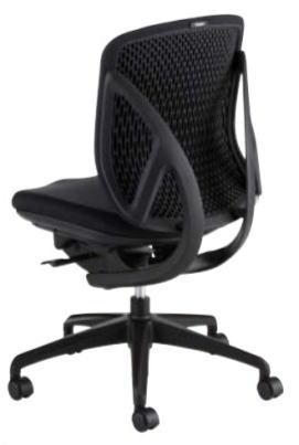 稲葉製作所 座面ブラックタイプ ブラックフレーム yera ローバック 肘なし オフィス家具