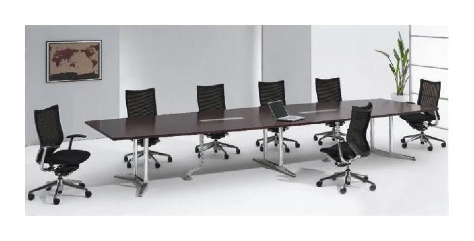 RATIO2 ポリッシュ脚 幅2400 会議用舟形テーブル オカムラ 配線ボックス付(天板同色)