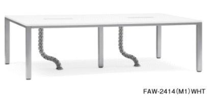 FAWテーブル 会議用テーブル ケーブルダクト コードホール付き 幅2400×奥行き1400 AICO