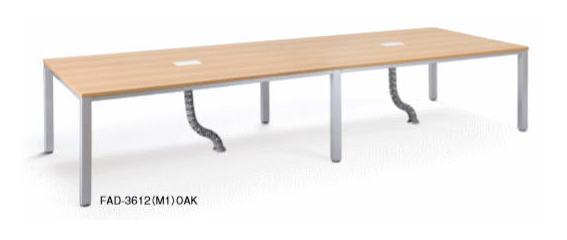 アイコ FADテーブル 会議用テーブル ケーブルダクト、コードホール付き 幅3600×奥行き1200