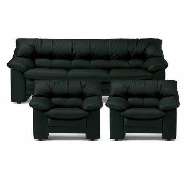 アイコ 応接3点セット ブラック オプティマ 長椅子 + 1人掛け×2【皮張り+ビニールレザー張り】
