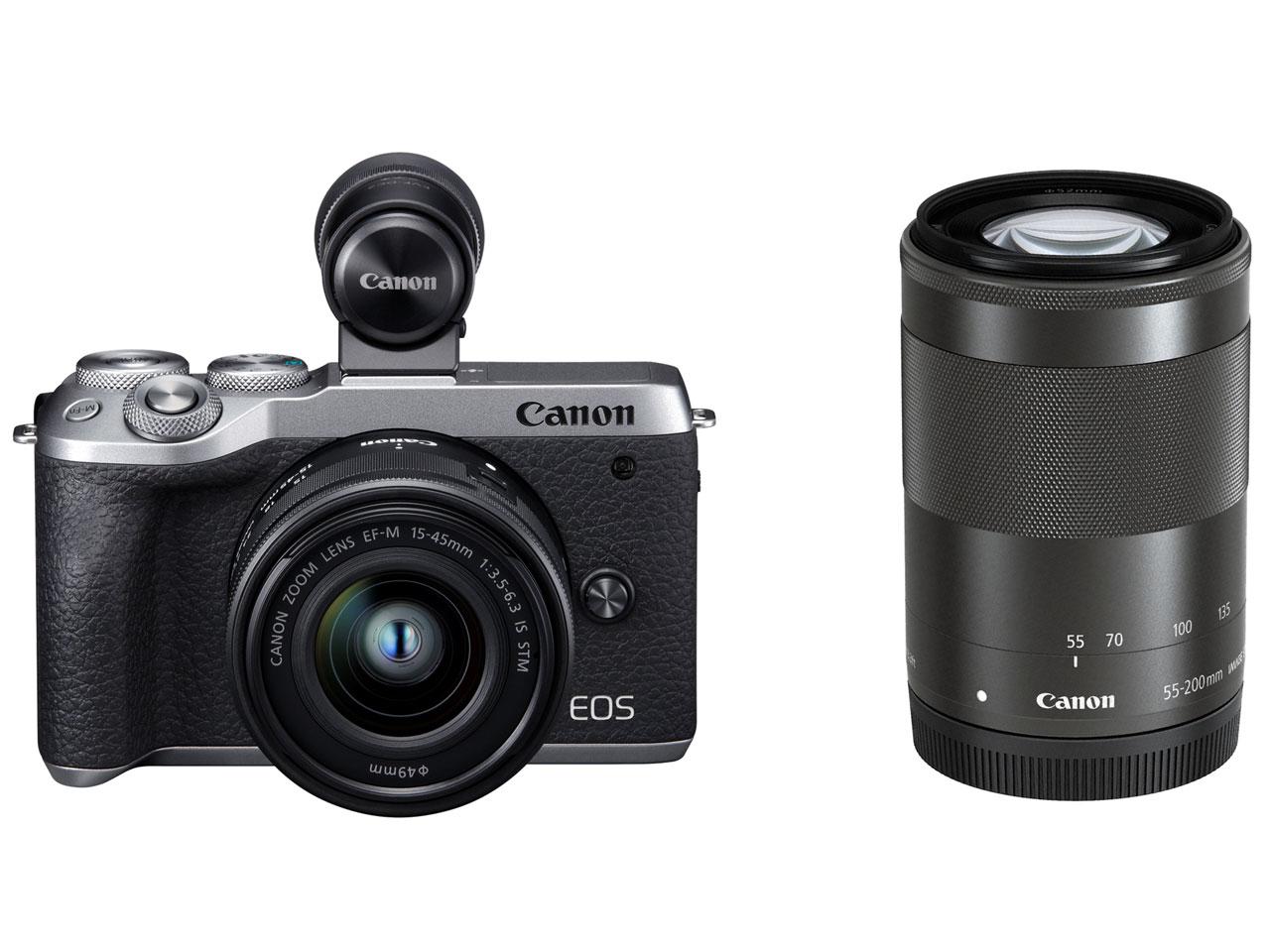 Canon EOS M6 Mark II ダブルズームEVFキット [シルバー]【お取り寄せ(メーカー取り寄せ/予約受付中)】※1~2ヶ月