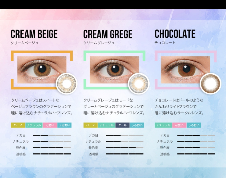"Rola Rola produced ""LILMOON"" cream Beige Cream grage chocolate DIA:14.4mm 10 pieces with 3-tone gradient color contact lenses 1 tonecirclelens longing eyes haefkarakon lilmoon color contact lenses"
