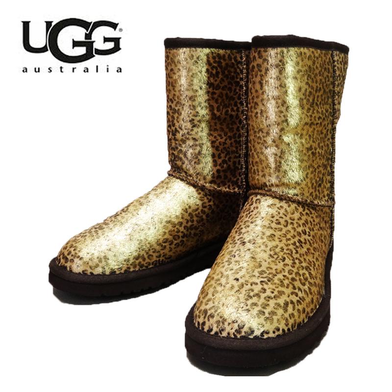 【あす楽】■正規品■ UGG Australia W Classic Short Metallic Leopard Calf Hair (アグ オーストラリア メタリック レオパード カフヘアー クラッシックショート ムートンブーツ) 1005329
