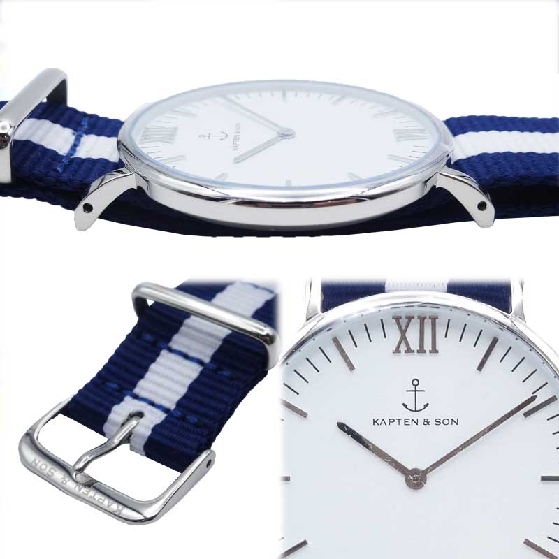 【あす楽】 KAPTEN&SON(キャプテン&サン) Campus(SILVER) WHITE Nylon 40mm /メンズ/ユニセックス/レディース/腕時計