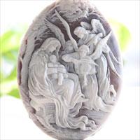 Ciro Accanito作シェルカメオルースウイリアム・ブグロー絵画【Song of the Angels】
