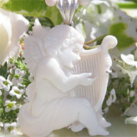 Giovanni Romano作 サードニクスシェルカメオSILVER ペンダントトップ【可愛いハープのエンジェル】