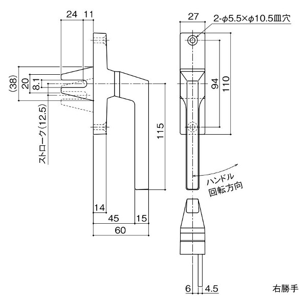【メーカー取り寄せ品】 DC-X-1500A 右勝手/ 左勝手 ATハンドル ナカニシ