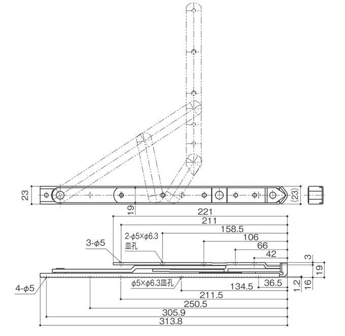 6バーヒンジ ナカニシ HD-12 縦スベリ出し窓用【メーカー取り寄せ品】
