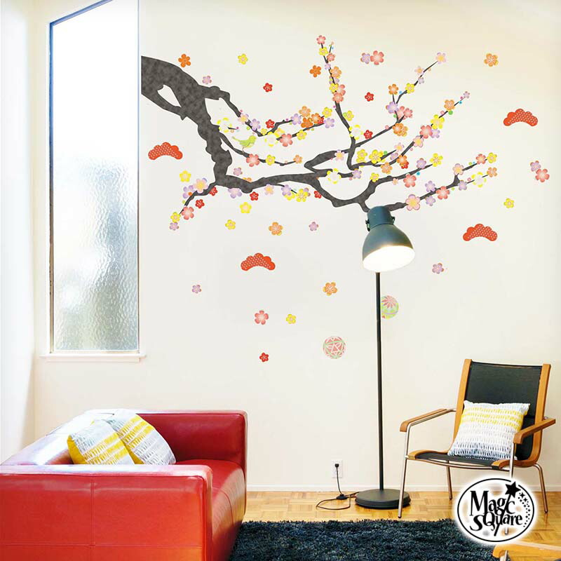 Sealed wall sticker 60 × 90 (cm) new year plum Nightingale Nightingale  Japanese Japan cheap Interior stickers Interior seal wall sticker wall  sticker