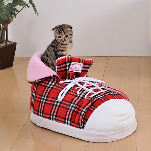 ボンビアルコン シューズクッション チェックレッド 犬猫用ハウスベッド 4977082796526 #w-143618