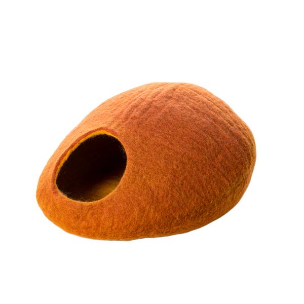 イトウ&カンパニー ウールキャットケイブ オレンジ / ベッド 猫用 ハンドメイド キャットケイヴ ドーム型 あったか 防寒 4906295073124 #w-156431-00-00