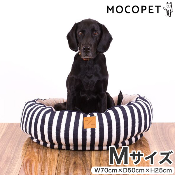 mog&bone 4シーズンズ リバーシブル丸型ベッド Mサイズ ネイビーハンプトン / 犬 ベッド 0797776306954 #w-157806-00-00
