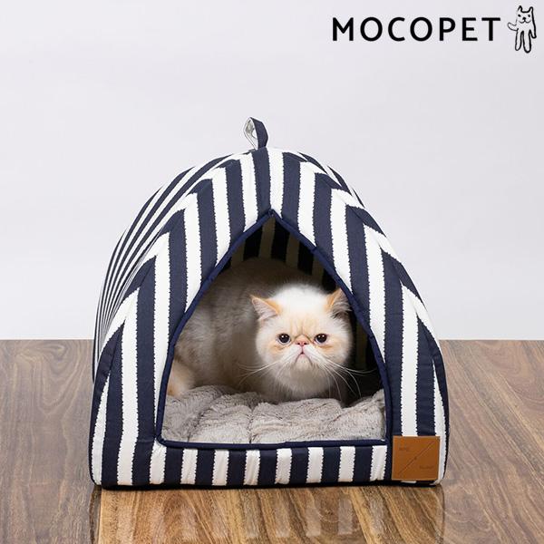 mog&bone イグルー Sサイズ ネイビーハンプトン / 猫 ベッド ドーム型 0797776310432 #w-157814-00-00