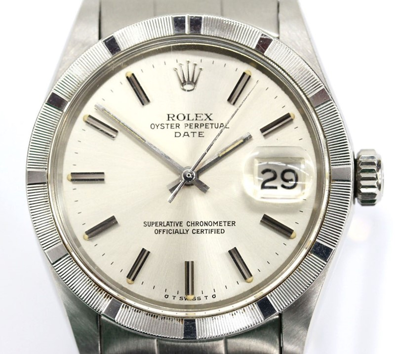 official photos e4720 b214b ロレックスオイスターパーペチュアルデイトエンジンターンドベゼルメンズ SS 1501 silver clockface Cal .1570  antique watch self-winding watch automatic