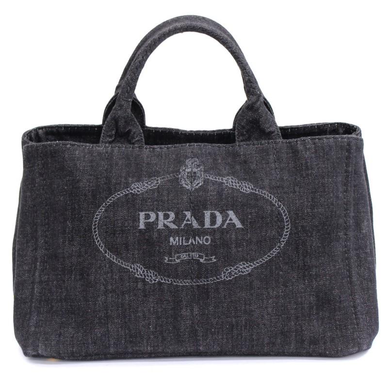 adf6eaf0a313 【PRADA】プラダカナパトート デニム ハンドバッグ トートバッグ B2642B【中古】