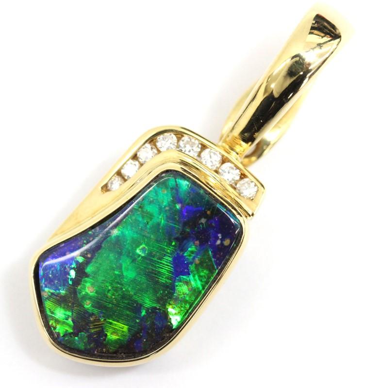 TOP トップ ボルダーオパール 実物 18K 750 YG まとめ買い特価 ダイヤモンド ペンダント 総重量4.5g 色石 宝石 中古 貴金属