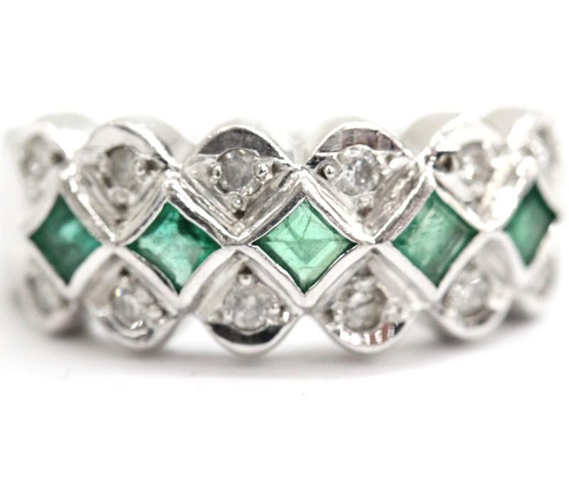 【Ring】リング 指輪 pt900 ダイヤモンド エメラルド プラチナ D0.23ct E0.51ct 宝石 貴金属 総重量7.5g 12.5号【中古】