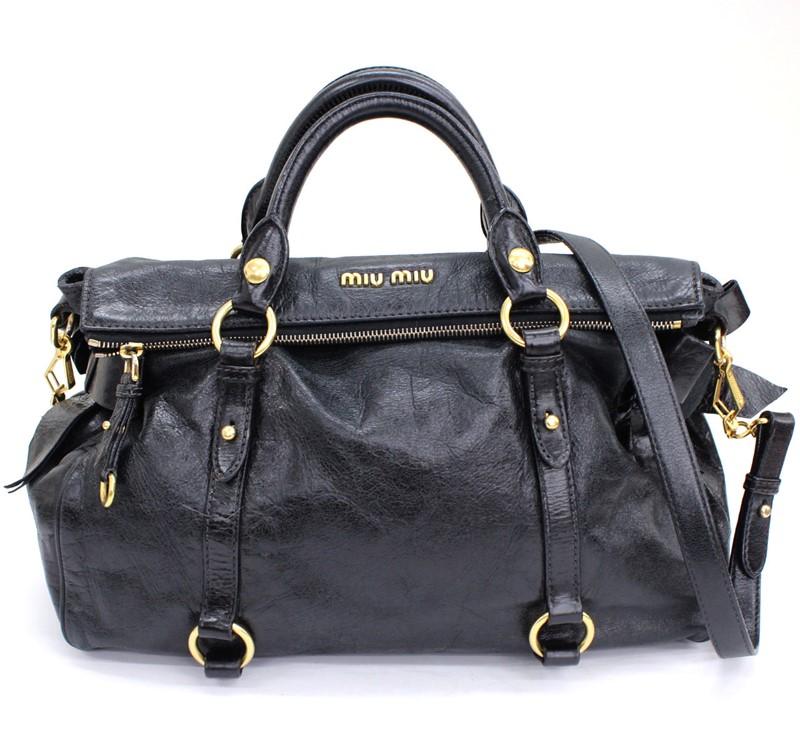 国産品 miumiu ミュウミュウ 2WAY レザー ショルダーバッグ ハンドバッグ 中古 海外並行輸入正規品 ブラック G金具