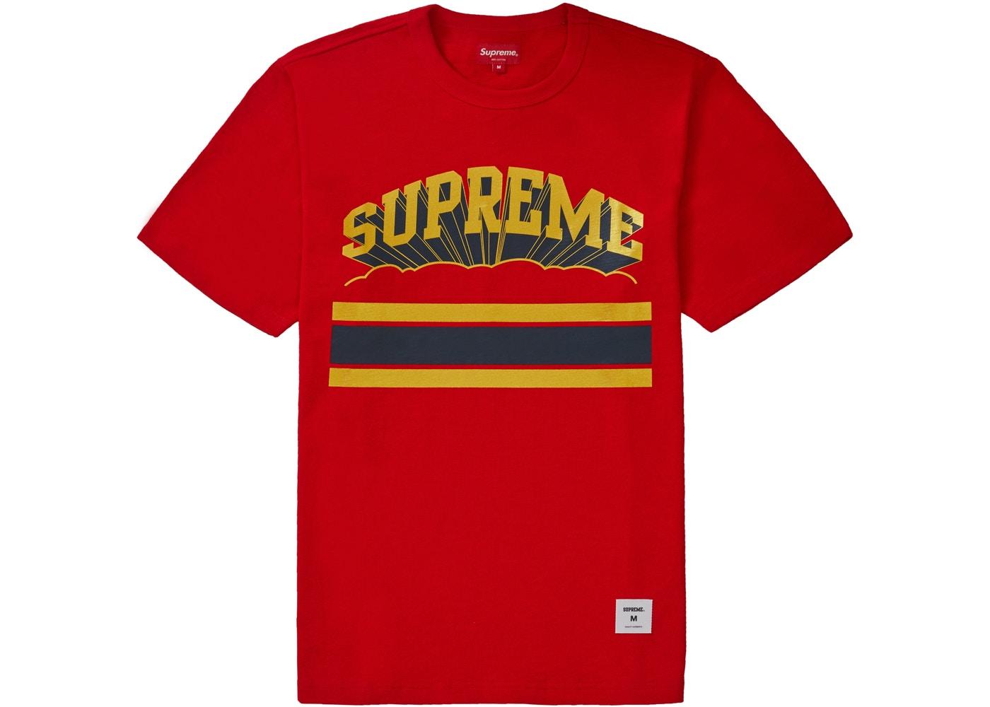 未使用 トレンド Supreme 日時指定 シュプリーム2019ss SUPREME CLOUD ARC TEE 中古 RED Tシャツ 赤 レッド Mサイズ