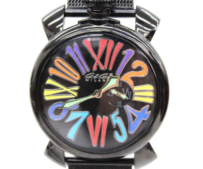【GaGa MILANO】ガガミラノ マヌアーレ 46 スリム 5082 ブラック 文字盤 マルチカラー カラフル インデックス 5082.1 ユニセックス 腕時計【中古】