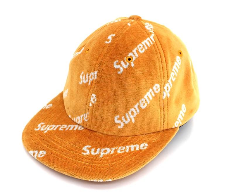 supreme シュプリーム 17AW Velour Diagonal マーケット Logo 6-Panel 中古 キャップ 正規品 人気商品 未使用品 黄 イエロー