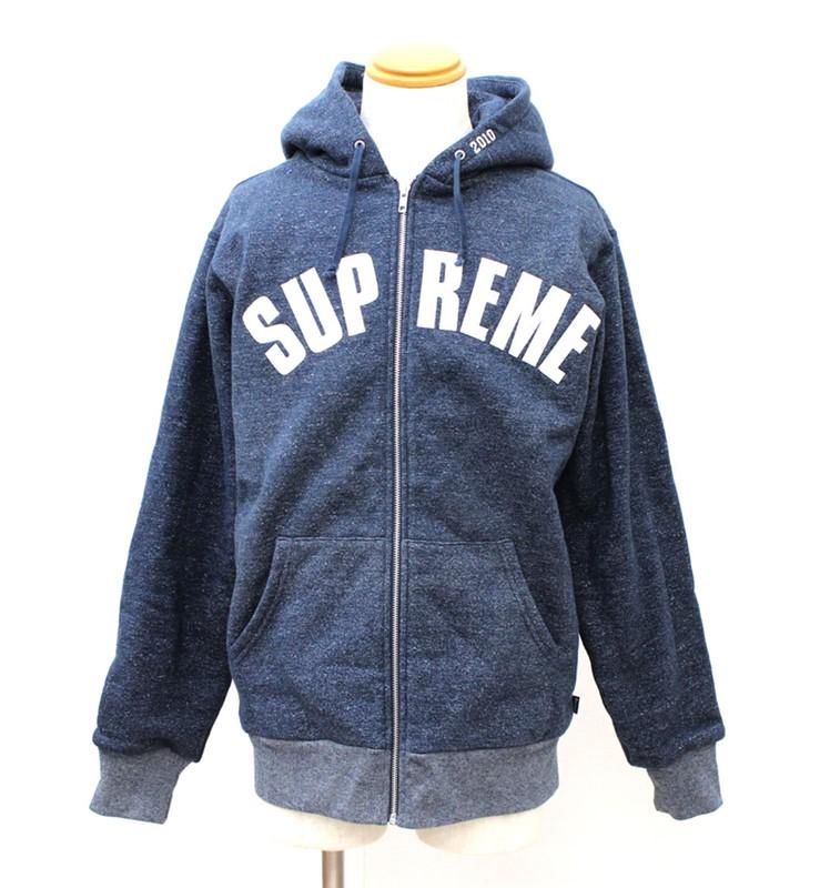 【未使用保管品】【Supreme】シュプリーム09AW アーチロゴ ジップパーカー 紺 Large Lサイズ【中古】