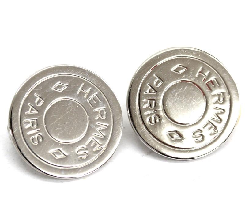HERMES エルメス イヤリング セリエ 超安い コイン シルバー メッキ 予約販売品 中古 アクセサリー