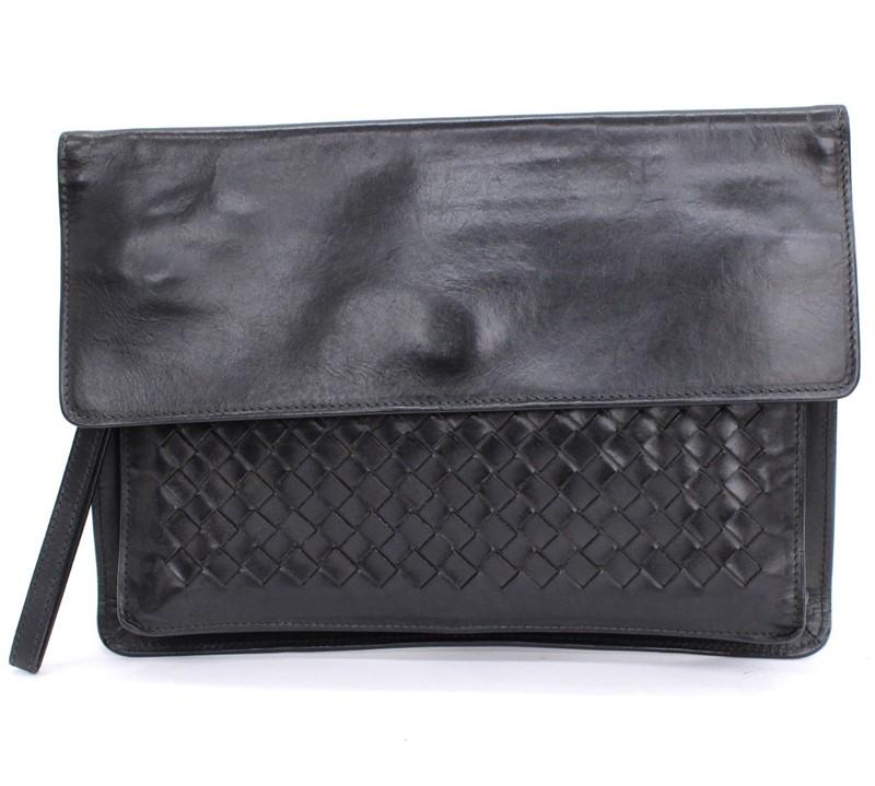 格安激安 BOTTEGA VENETA ボッテガヴェネタ イントレチャート クラッチバッグ セカンドバッグ イタリア製 贈物 中古 ブラック レザー メンズ