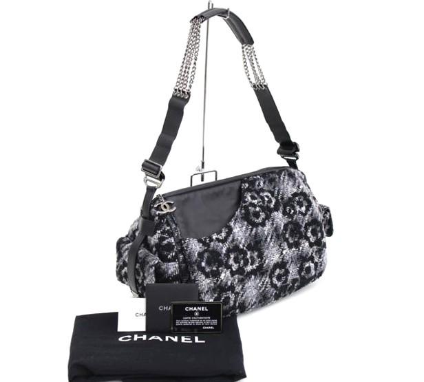 【CHANEL】シャネル ショルダーバッグ カメリア ツイード レザーショルダー シルバー金具 ココマーク【中古】