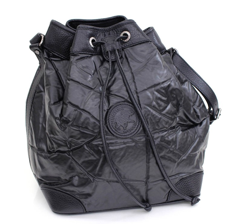HUNTING WORLD ファッション通販 ハンティングワールド ショルダーバッグ 巾着 ブラック 中古 バチュークロス×レザー 新着セール