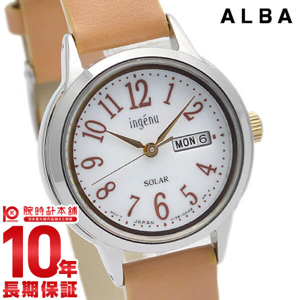 最大1200円割引クーポン対象店 セイコー アルバ アンジェーヌ SEIKO ALBA ingenu AHJD109 ソーラー 腕時計 レディース 革ベルト 時計【あす楽】