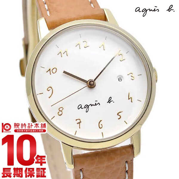 【店内最大37倍!28日23:59まで】アニエスベー 時計 agnes b. ペアモデル FCSK933 Marcello マルチェロ 腕時計 レディース ホワイト×ライトブラウン 革ベルト