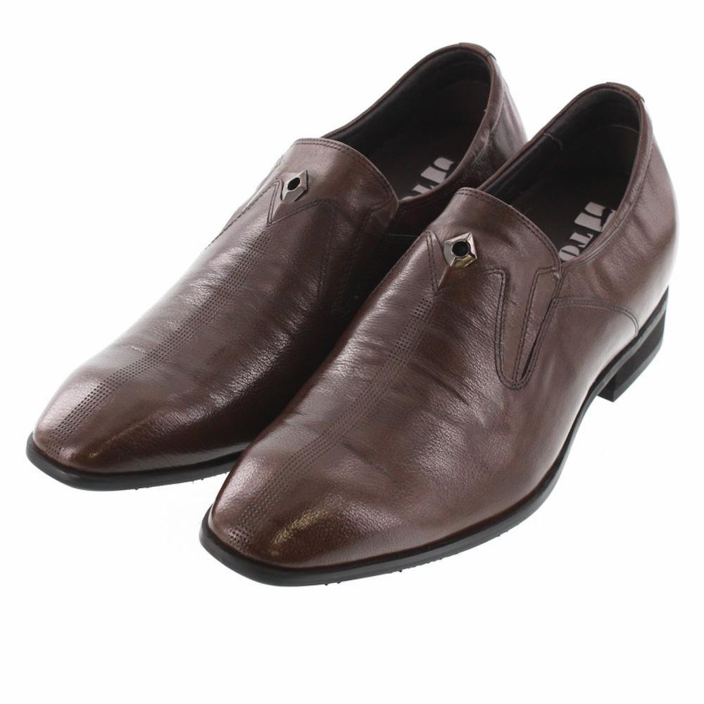 【7cmUP】 +7cmUP シークレットシューズ 7_biz_003 ビジネスタイプ ビジネスシューズ 靴 結婚式 本革 7cm背が高くなる シークレットブーツ シークレット メンズ ブラウン スリッポンタイプ