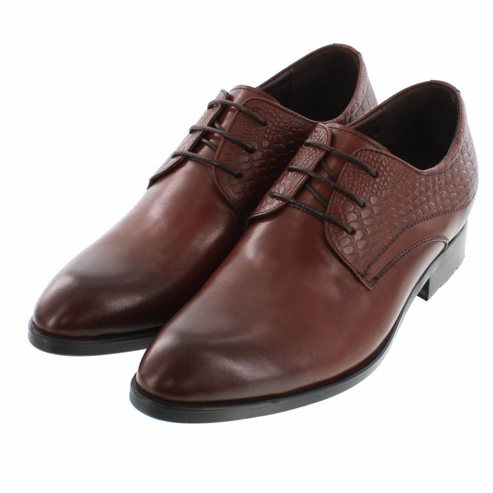 【7cmUP】 +7cmUP シークレットシューズ 7_biz_020 ビジネスタイプ ビジネスシューズ 靴 結婚式 本革 7cm背が高くなる シークレットブーツ シークレット メンズ ダークブラウン 紐靴