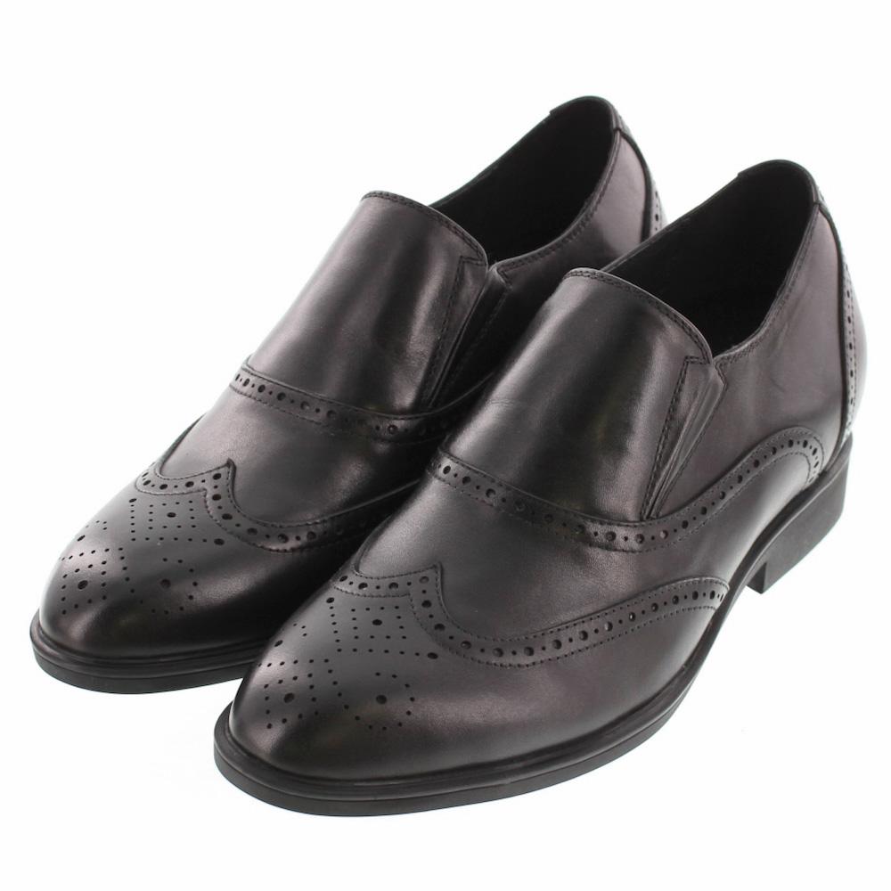 【7cmUP】 +7cmUP シークレットシューズ 7_biz_015 ビジネスタイプ ビジネスシューズ 靴 結婚式 本革 7cm背が高くなる シークレットブーツ シークレット メンズ ブラック 黒 スリッポン