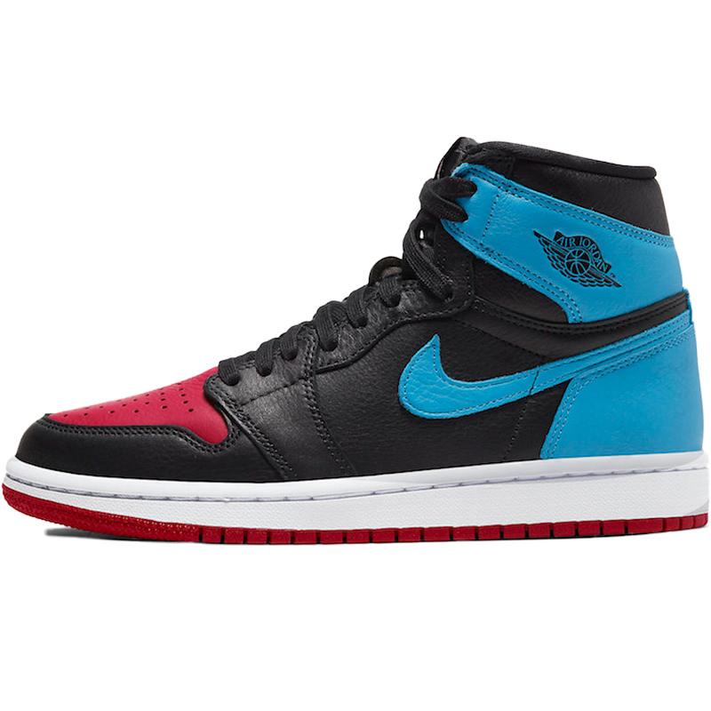 NIKE ナイキ WMNS AIR JORDAN 1 HIGH OG 'UNC TO CHICAGO' ウイメンズモデル エア ジョーダン ワン ハイ オージー レディース メンズ スニーカー BLACK/DARK POWDER BLUE-GYM RED ブラック/ダークパウダーブルー-ジムレッド CD0461-046【限定モデル】