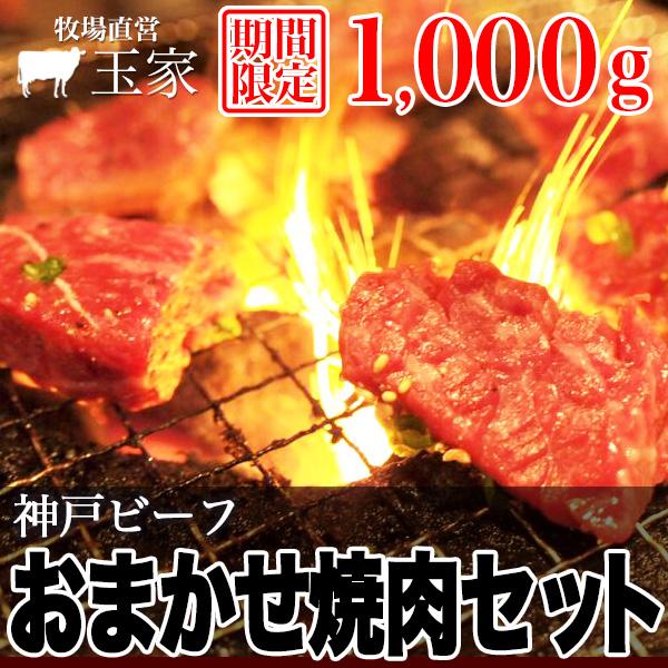 【送料無料】【神戸ビーフ ギフト】【期間限定】神戸牛 おまかせ焼肉セット 1000g(冷凍)国産 牛肉 焼肉 BBQ 黒毛和牛