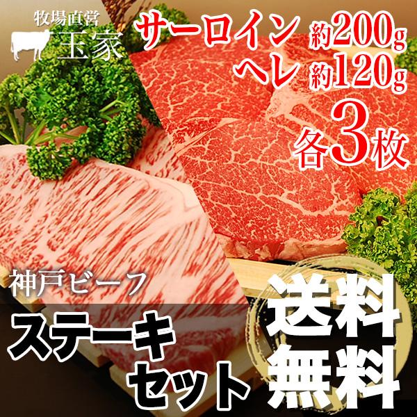 【神戸ビーフ ギフト】贈答 内祝い 御礼 肉 ギフト 肉 【送料無料】 |神戸牛 サーロインステーキ肉200g&へレステーキ肉 120g 各3枚(冷蔵)国産 牛肉 内祝い ヒレ ステーキ フィレ 肉 牛肉 贈答 お返し